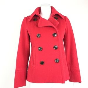 J Crew Peacoat Coat Blazer Small S Red 100% Wool